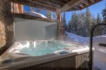 Private hot tub overlooking Lone Peak and Andesite Mountains