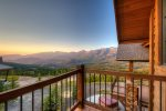 Upstairs guest bedroom, queen bed, private balcony with views of the Spanish Peaks