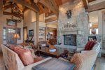 Main level living space, amazing view of the Spanish Peaks, wood burning fireplace