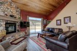 Living space&59&59; wood burning fireplace&59&59; deep seated leather couches