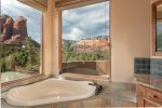 And a large bath tub with perfect red rock views