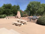 Communal BBQ grills, seating and fireplace to enjoy the outdoor Sedona lifestyle