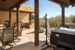 The private courtyard is an entertainers dream with a 6 person hot tub