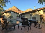 Back yard seating area, pool and view of Saddleback Mountain