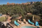 Enjoy beautiful Red Rock Views from the second floor, looking toward the pool