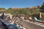 And there`s ample seating to relax, unwind, soak up the Sedona views and take a plunge in your private pool