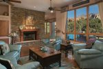 The living Room has great views of Sedona`s monolithic Red Rocks