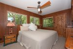 Relax in the comfort of master bedroom in this historic Sedona Cabin