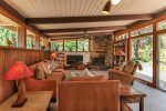 Southwestern interiors with a wood-burning fireplace