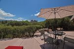 The patio boasts red rock views