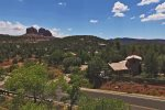 A view of the home backdropped by stunning Sedona views