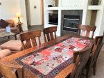 There is a formal dining table for vacation meals