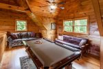 Large loft with sofa sleeper and pool table