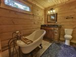 Queen Private bath with claw foot tub and walk in shower on main