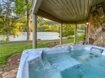 Large Hot Tub overlooking lake