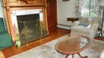 Wood Fireplace in sitting area at waterville Valley Vacation Home