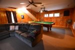 Pool table and seating w/ TV in White Mountain Home