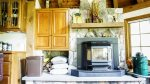 Wood stove in kitchen at Waterville Valley Private Vacation Home