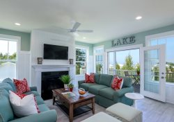 Blue Haven - New Beach House with Lake Views, Fire Pit & Tram to Beach