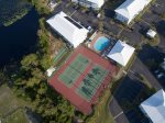 Aerial view of main pool, tennis courts and shuffleboard