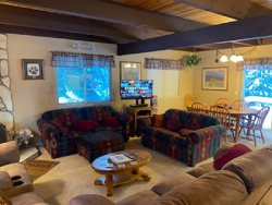 1207S-Woodsy cabin with fenced backyard, close to skiing and trail access