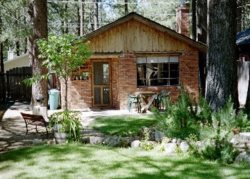 V38-Romantic, historic cabin just a few block to the Lake, fenced yard with private hot tub