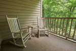 Enjoy the outdoors in the rocking chairs on the deck