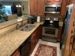 Beautiful new granite counter tops add to the luxury