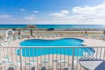 Enjoy this beautiful view of the Pool and Sparkling Gulf Water