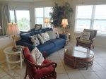 Comfortable Living Room Seating. Stunning Beachfront View.