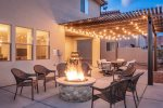 Luxury Backyard with Hot Tub, Fire Pit, BBQ, Table and Seating