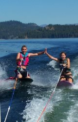 Cousins creating memories.  Come stay in McCall at the Big Cabin at Ponderosa