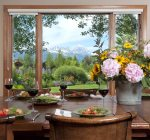 Exquisite views of the Tetons from the dining table