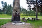 Fire pit made from old cabin`s chimney shared with neighboring cabin