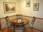 An Albert Bierstadt print hangs in the kitchen dining area for 4. 14,060` Mt. Bierstadt is named after him.