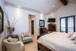 Master Suite has a gas fireplace, flatscreen TV and Private Balcony