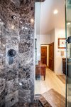 Spacious beautifully tiled stand up shower