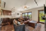 Kitchen has Granite Countertops and plenty of cabinet space for storage