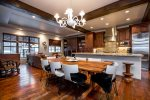 Great open kitchen for entertaining. Dining table seats 8 and 4 seats at the bar