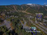 Wood Run Ski Cottage Aerial View shows close proximity to Whitefish Base Lodge