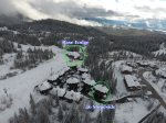 Aerial shot of Slopeside and the base lodge. Incredible Ski-in/Ski-out