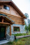 Close up shot of the beautiful log home
