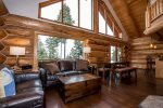 Wonderful living room with amazing views with wood fireplace