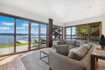 Dining area with wine refrigerator and wet bar