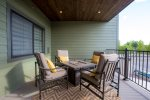 Spacious patio with fire table