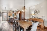 Inviting dining room space with great lighting and charming decor.