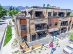 Aerial view of Whitefish Mountain Resort facing front of 2nd St Lofts.
