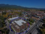 Aerial view of 2nd Street Lofts and Downtown Whitefish, Montana