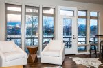 Expansive windows with amazing views of the mountains and Whitefish Lake