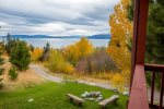 Beautiful view of Flathead lake from the yard and deck
